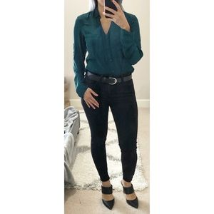 Express Dark Forest Green Portofino Shirt XS